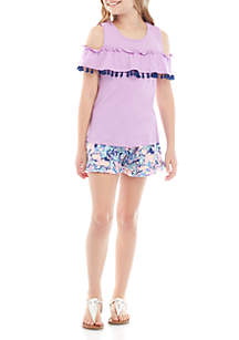 58e8118d8e02ba ... One Step Up Girls 7-16 Cold Shoulder Lilac Ruffle Top with Unicorn  Short Set