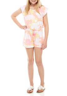 One Step Up Girls 7-16 Yummy Tie Dye Printed Yellow and Pink Romper