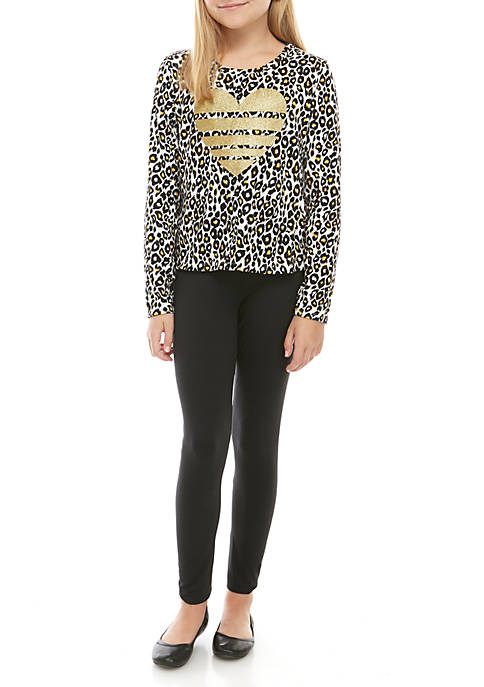One Step Up Girls 7-16 Long Sleeve Cheetah