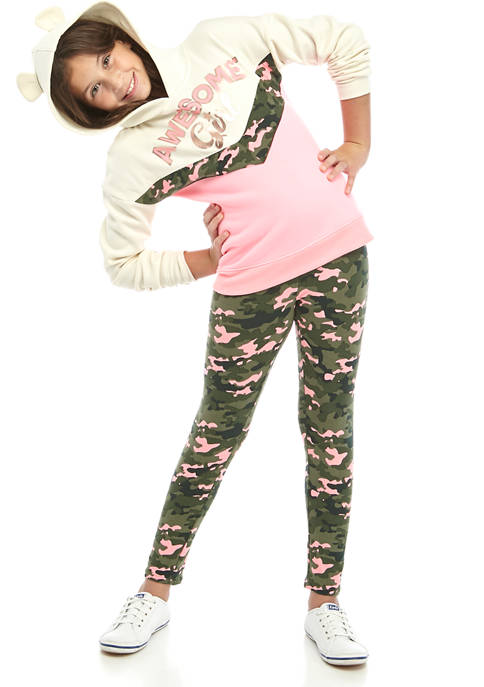 One Step Up Girls 7-16 Fleece Pink Camouflage