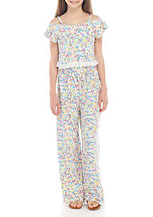 08bfc574fc ... One Step Up Girls 7-16 Yummy White Multi Floral Popover Jumpsuit