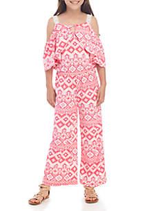 d498a957825 ... One Step Up Girls 7-16 Yummy Pink Bayadere Cold Shoulder Jumpsuit