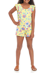 One Step Up Girls 7-16 Yummy Yellow Floral Romper