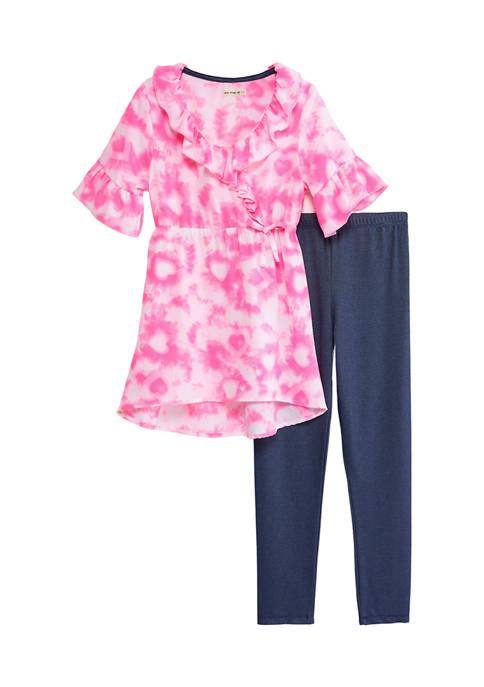Girls 7-16 2 Piece Tie Dye Dress and Knit Leggings Set