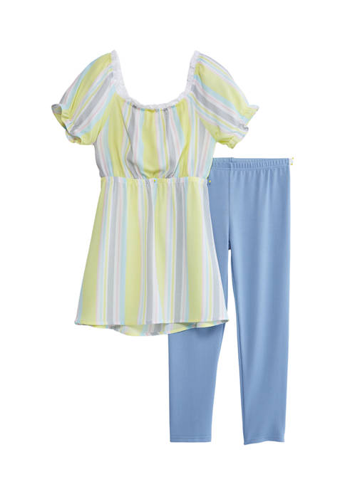 Girls 7-16 2 Piece Striped Dress and Leggings Set