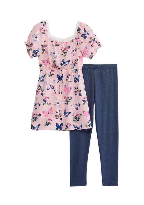 Girls 7-16 2 Piece Floral Dress and Knit Leggings Set