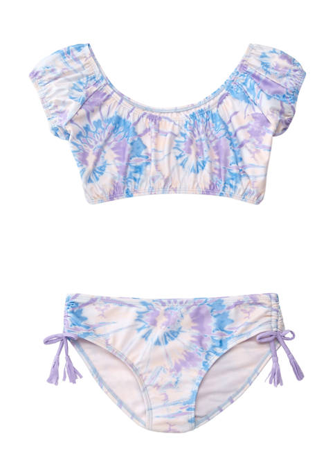 Breaking Waves Girls 7-16 Cabana Blouson Bikini Swim