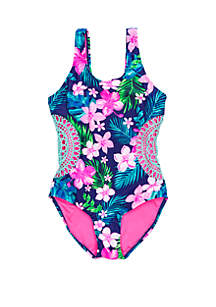Breaking Waves Girls 7-16 Hawaiian Time Swim One Piece