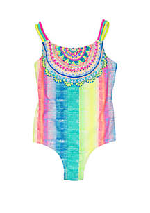 Breaking Waves Girls 7-16 Rainbow Medallion One Piece Swimsuit