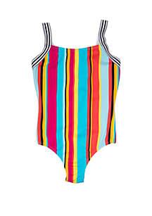 Breaking Waves Girls 7-16 Taffy Stripe One Piece Swimsuit