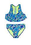 Girls 7-16 Kick Flip Ikat 2-Piece Swim Set