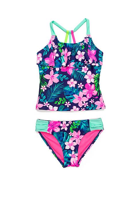 Breaking Waves Girls 7-16 Hawaiian Time Tankini Swim