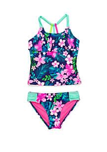 Breaking Waves Girls 7-16 Hawaiian Time Tankini Swim Set