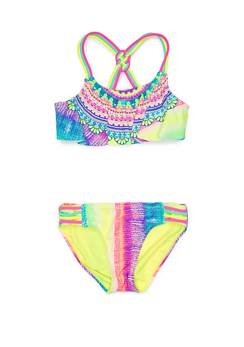 Breaking Waves Girls 7-16 Rainbow Medallion 2 Piece