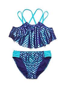 Breaking Waves Girls 7-16 Mermaid Splash 2 Piece Swim Bikini