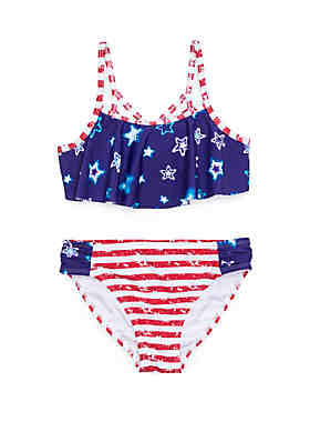 ac8f5191cf4 Breaking Waves Girls 7-16 Stars and Stripes 2 Piece Swim Set ...