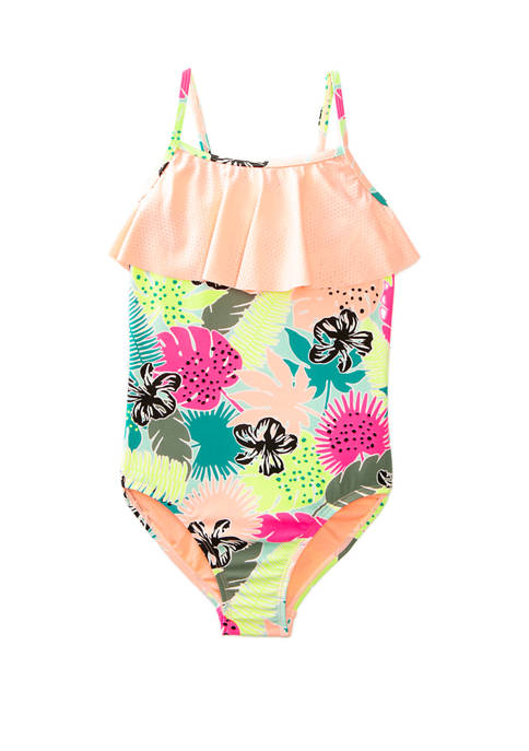 Girls 7-16 Wild Jungle Flounce One Piece Swimsuit
