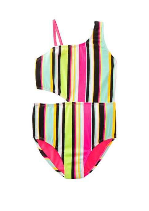 Girls 7-16 Stripe Sharkbite One Piece Swimsuit
