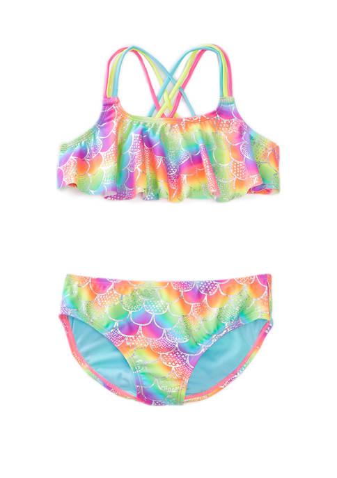 Breaking Waves Girls 7-16 Mermaid Shine Bungee Back