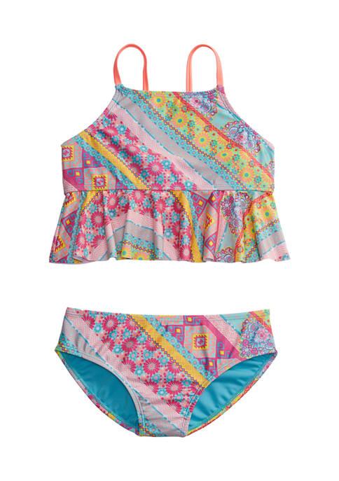 Girls 7-16 Boho Printed Peplum Midkini Swimsuit