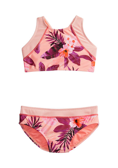 Breaking Waves Girls 7-16 Tropical Floral Textured 2-Piece