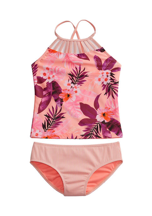 Breaking Waves Girls 7-16 Tropical Floral Textured Tankini