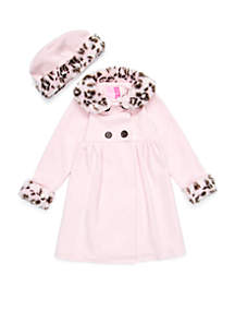 Girls 2-6x Pink Jacket with Fur Collar