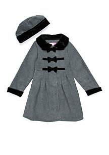 Girls 2-6x Grey Fleece Jacket with Bows
