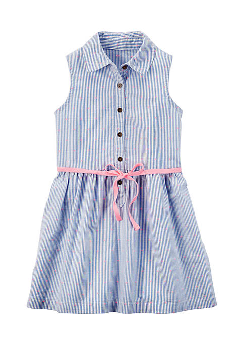 Carter's® Button-Front Embroidered Dress Girls 4-6x