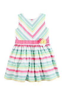 Girls 4-8 Striped Rosette Dress