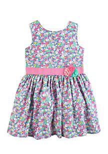Girls 4-8 Floral Sateen Dress