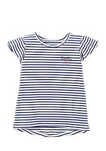 Girls 4-6x Striped High Low Tee