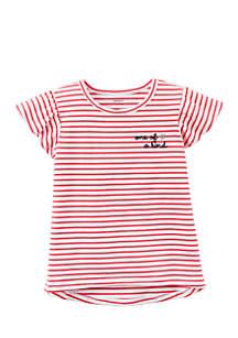 Girls 4-6x Striped Hi-Lo Tee