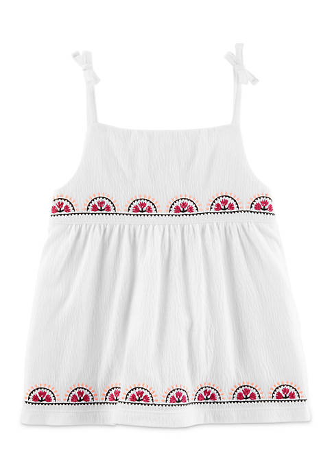 Carter's® Girls 4-8 Embroidered Tie Shoulder Tank Top