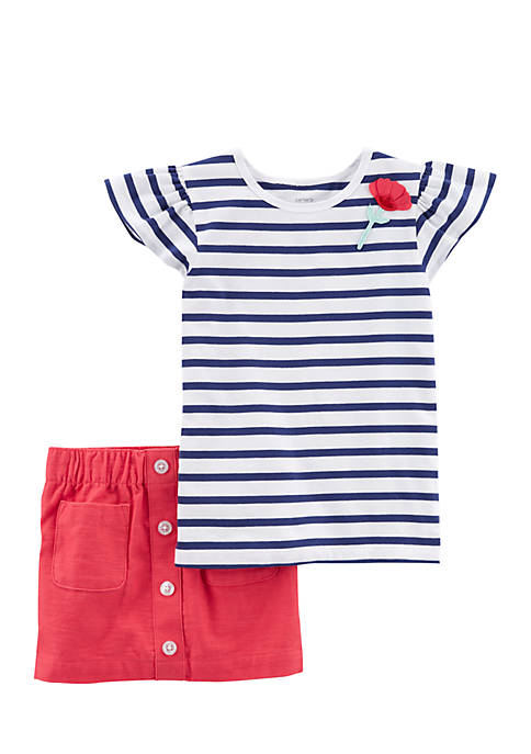 Carter's® Girls 4-6x Navy White Stripe Flutter Sleeve