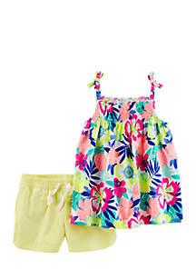 2-Piece Floral Tie Shoulder Tank and Tumbling Shorts Set Girls 4-6x