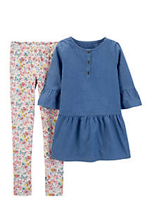 Girls 4-6x 2-Piece Chambray Bell-Sleeve Top And Floral Legging Set