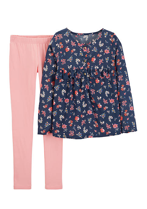 Carter's® Girls 4-6x 2-Piece Floral Top And Legging
