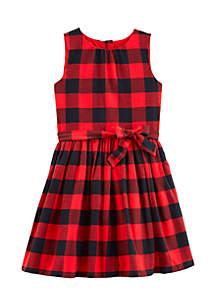 Girls 4-8 Buffalo Check Flannel Holiday Dress