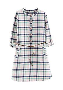 Girls 4-6x Woven Plaid Belted Dress