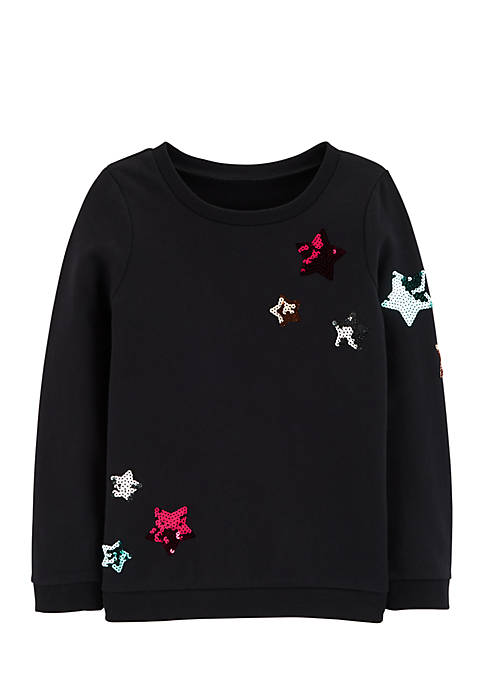 Carter's® Girls 4-6x Sequin Star French Terry Pullover