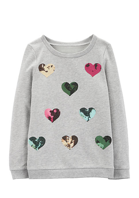 Carter's® Girls 4-8 Sequin Heart French Terry Pullover