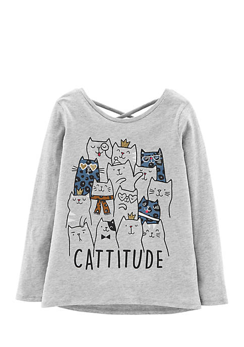 Carter's® Girls 4-6x Long Sleeve Cattitude Tee