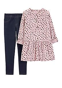 Girls 4-8 Cheetah Print Top and Legging Set
