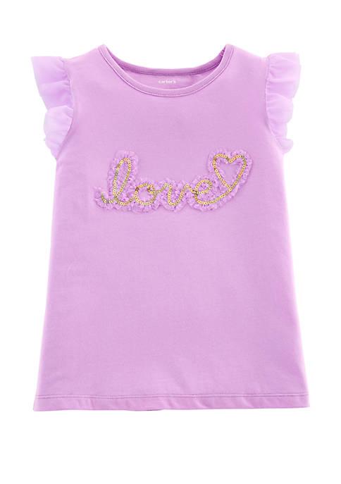 Girls 4-8 Love Tulle Sleeve Top