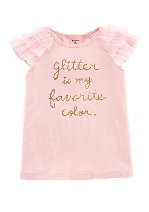 Girls 4-8 Glitter Tulle Sleeve Top