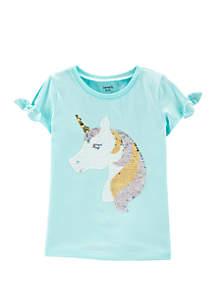 Carter's® Girls 4-8 Flip Sequin Unicorn Split Shoulder Tee