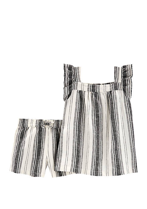 Carter's® Girls 4-6x Striped Linen Top and Short