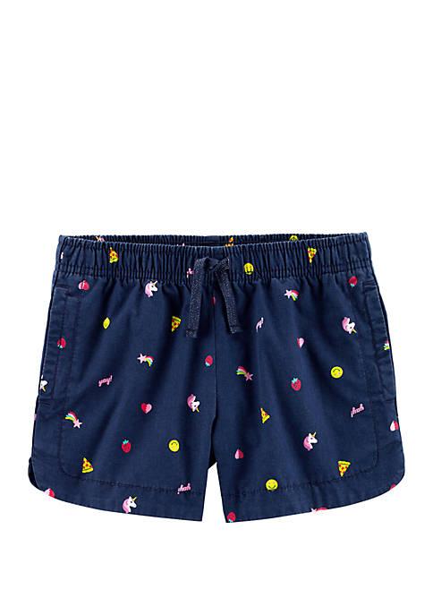 Carter's® Girls 4-8 Emoji Pull-On Twill Shorts