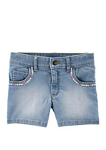 Carter's® Girls 4-6x Embroidered Heart 5 Pocket Denim Shorts